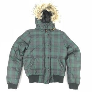 American Eagle Outfitters Plaid Down Parka Jacket
